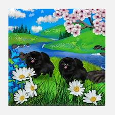 Black Pomeranian Dogs Cherry Blossoms Tile Coaster