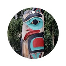 Native American Totem Pole, Anch Ornament (Round)