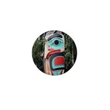 Native American Totem Pole, Anchorage Mini Button