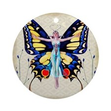 Art Deco Leyendecker Lady B'fly Ornament (Round)