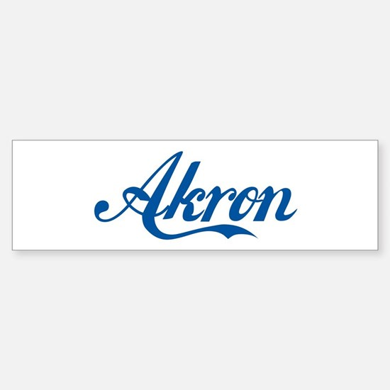 Akron (cursive) Bumper Car Car Sticker