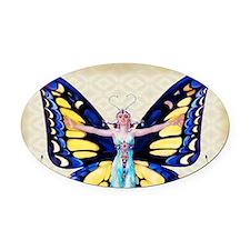 Art Deco Leyendecker Lady B'fly Oval Car Magnet