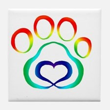 Rainbow Paw Tile Coaster