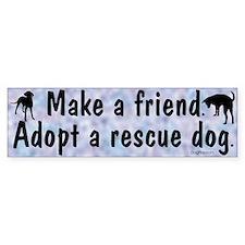 Adopt A Rescue Dog (Blue) Bumper Bumper Sticker