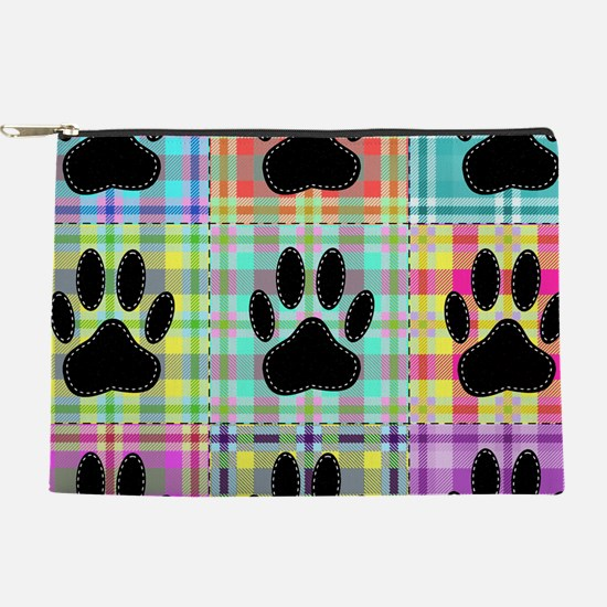 Dog Paw Pattern Quilt Print Makeup Pouch