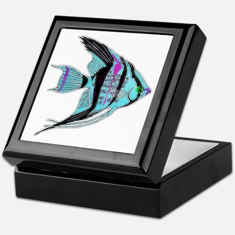 Tribal Blue Angel Fish Keepsake Box