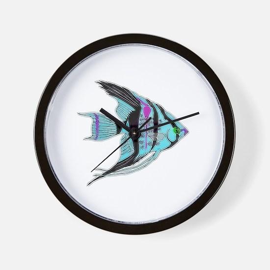 Tribal Blue Angel Fish Wall Clock