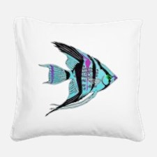 Tribal Blue Angel Fish Square Canvas Pillow