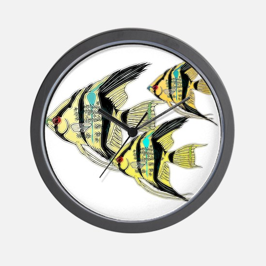 Three Yellow Tribal Angel Fish Wall Clock