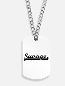 Savage surname classic retro design Dog Tags