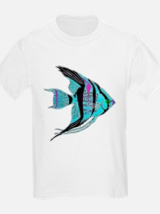 Tribal Blue Angel Fish T-Shirt