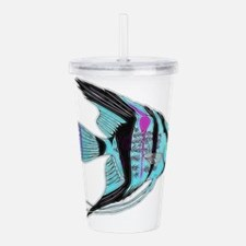 Tribal Blue Angel Fish Acrylic Double-wall Tumbler