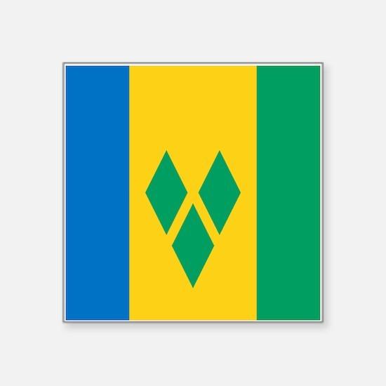 "St Vincent Grenadines Flag Square Sticker 3"" x 3"""