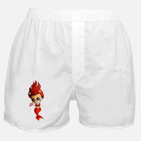 Dia de Los Muertos Mermaid Girl Boxer Shorts