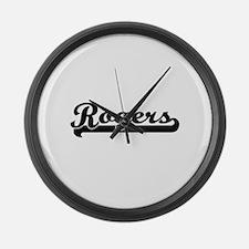 Rogers surname classic retro desi Large Wall Clock