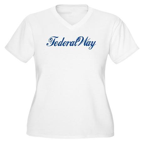Federal Way (cursive) Women's Plus Size V-Neck T-S