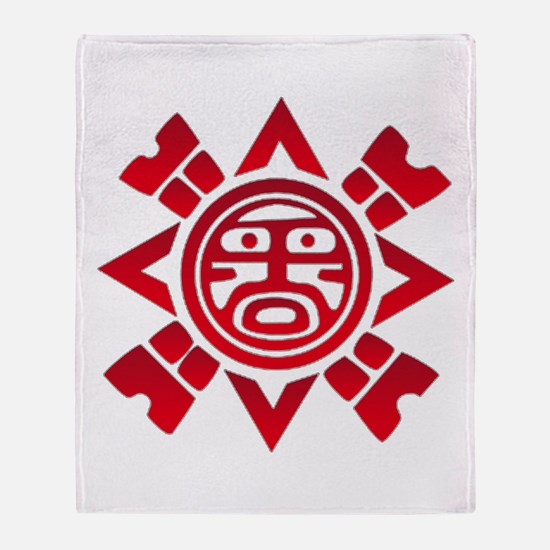 Red Haida Sun God Throw Blanket