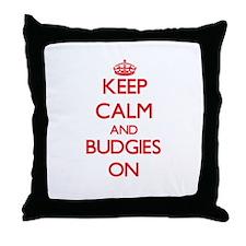 Keep calm and Budgies On Throw Pillow