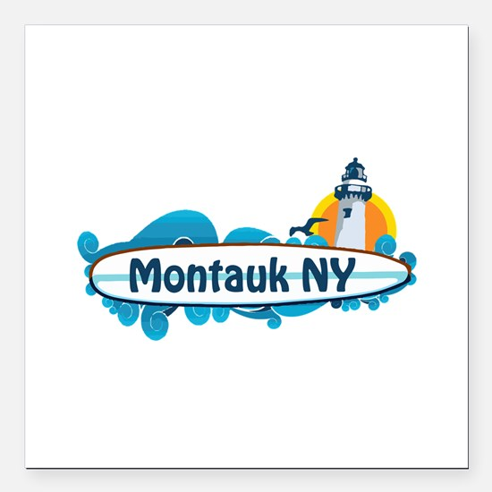"Montauk - Long Island. Square Car Magnet 3"" x 3"""