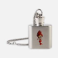 Dia de Los Muertos Mermaid Girl Flask Necklace