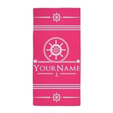 Pink Ship Wheel and Anchor Personalize Beach Towel