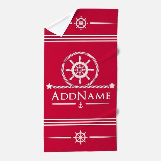 Cherry Red Nautical Ship Wheel and Anc Beach Towel