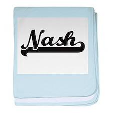 Nash surname classic retro design baby blanket