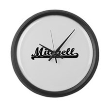 Mitchell surname classic retro de Large Wall Clock