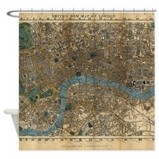 Vintage Map of London England (1860 Shower Curtain