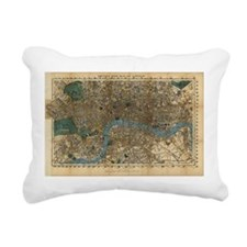 Vintage Map of London En Rectangular Canvas Pillow