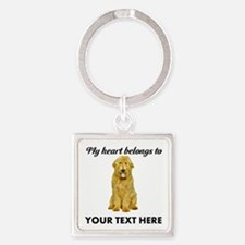 Personalized Goldendoodle Square Keychain