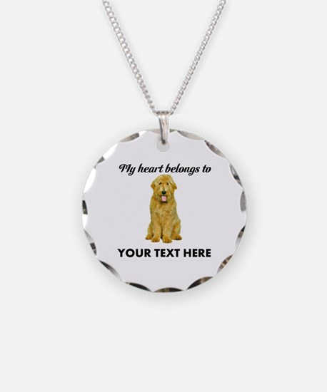 Personalized Goldendoodle Necklace Circle Charm