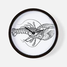 Vintage Lobster illustration Wall Clock