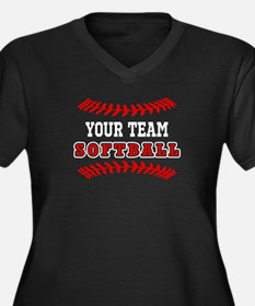 YOUR TEAM SOFTBALL LACES Plus Size T-Shirt