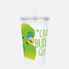 Crazy Budgie Guy Acrylic Double-wall Tumbler
