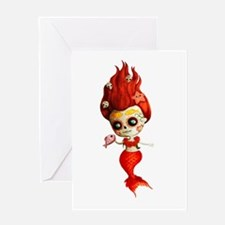 Dia de Los Muertos Mermaid Girl Greeting Cards