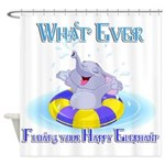 What Ever Floats Happy Elephant Shower Curtain