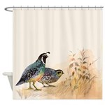 Watercolor Desert Gambel's Quail Shower Curtai
