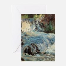 Waterfall by Twachtman Greeting Cards