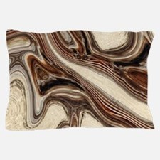 rustic brown swirls marble Pillow Case