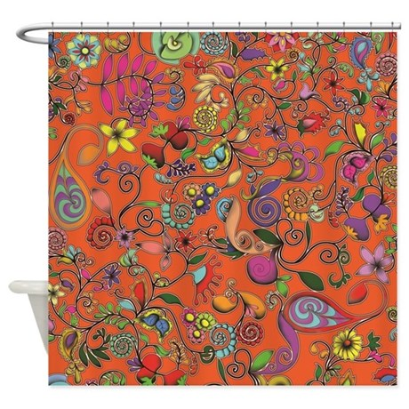 Orange Shower Curtain By Zodiarts