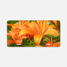 Orange Tiger Lilies Aluminum License Plate