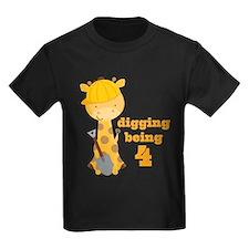 4th Birthday Construction Giraffe T-Shirt
