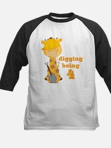 4th Birthday Construction Giraffe Baseball Jersey