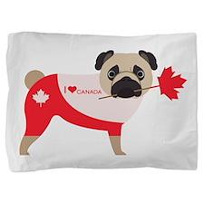 Canada Pug with Maple Leaf Heart Pillow Sham