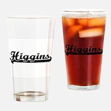 Higgins surname classic retro desig Drinking Glass