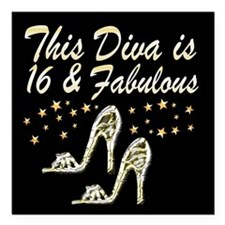 """SNAZZY 16TH DIVA Square Car Magnet 3"""" x 3"""""""