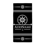 Black nautical Beach Towels