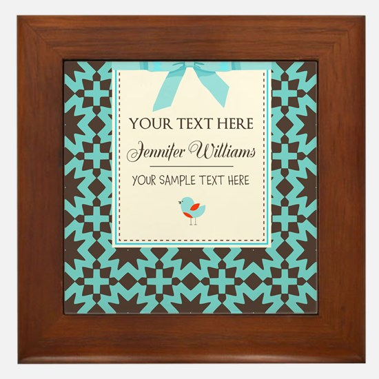 Brown and Blue Ribbon Personalized Framed Tile
