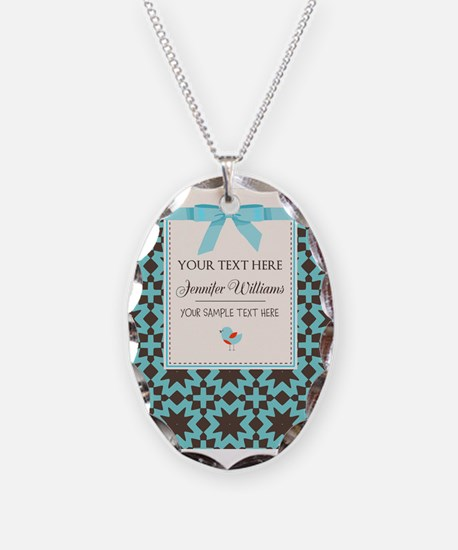 Brown and Blue Ribbon Personal Necklace